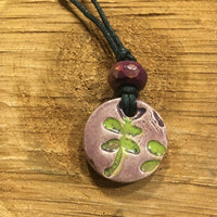 Leafy purple essential oil necklace