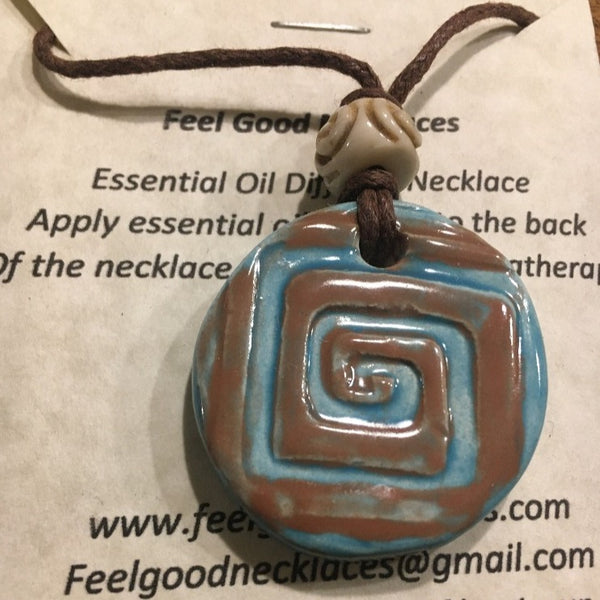 Rounds teal and brown Essential Oil Clay Necklace