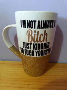 Glitter mug Personalised white