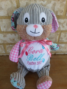 Personalised embroidered pink bunny