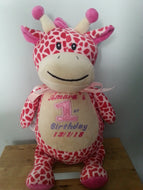 Personalised embroidered giraffe
