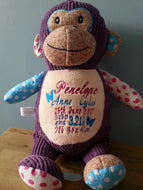 Personalised embroidered monkey