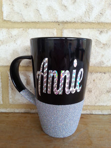Glitter mug *PLEASE NOTE DUE TO CURING TURNAROUND IS APPROX 4 WEEKS PLUS POSTAGE UNLESS COLOUR IN STOCK*
