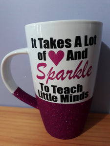 Glitter mug Personalised white *PLEASE NOTE DUE TO CURING TURNAROUND IS APPROX 4 WEEKS PLUS POSTAGE UNLESS COLOUR IN STOCK*