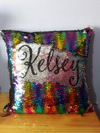 Personalised sequin cushion with name