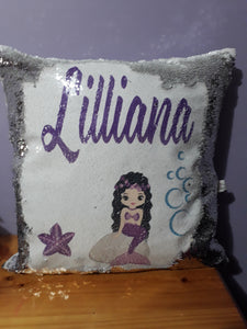 Personalised sequin cushion with picture
