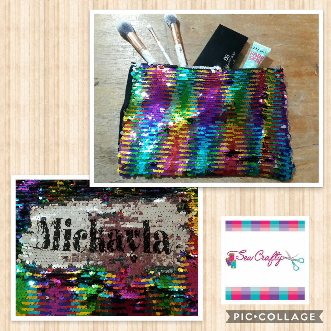 Personalised sequin makeup bag