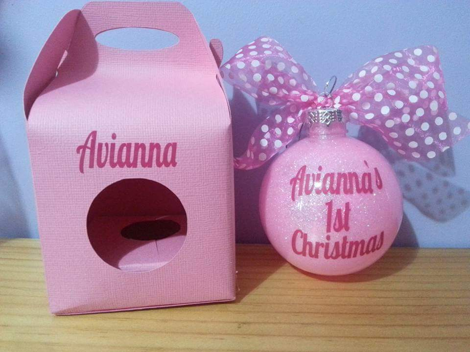 Personalised Christmas glitter baubles