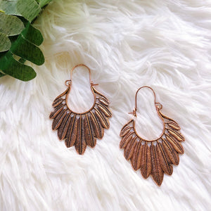 Olivia Copper Feather Earrings
