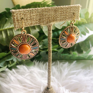 Orange Circle disc earrings