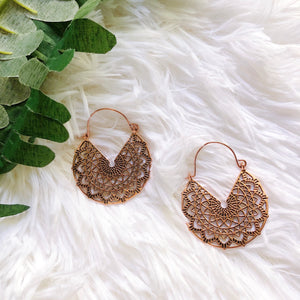 Boho copper mandala earrings