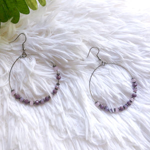 Lily lavender hoop earrings