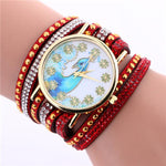 Peacock Pattern Leather Bracelet Wristwatch