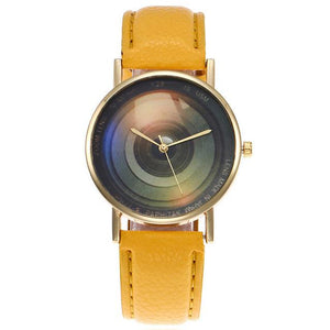 Women's Camera Lens Leather Wristwatch