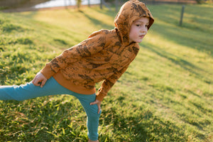 "Kids Organic Cotton Winter Pyjamas - ""Yukul"" in Copper Earth"
