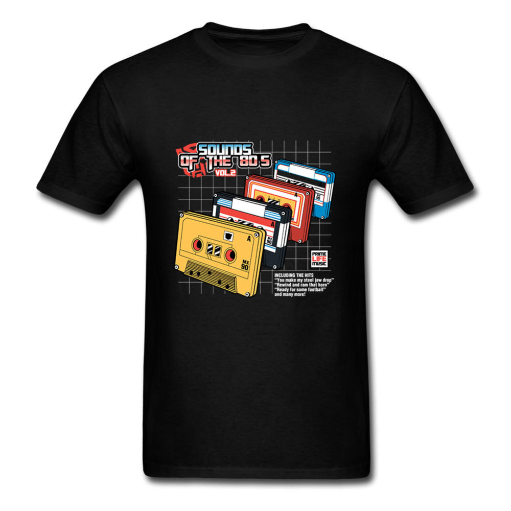 T Shirt Mens Short Sleeve, Sounds of the 80s Music Streetwear