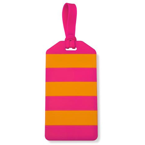 Off We Go! Luggage Tag (Orange/Pink Stripe)