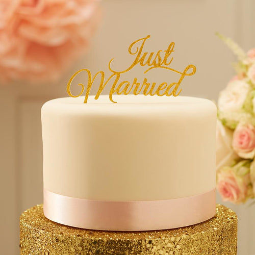 Sparkling Just Married Cake Topper - Gold