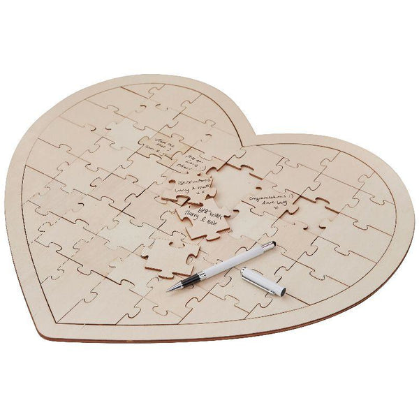 Wooden Heart Jigsaw Guest Book