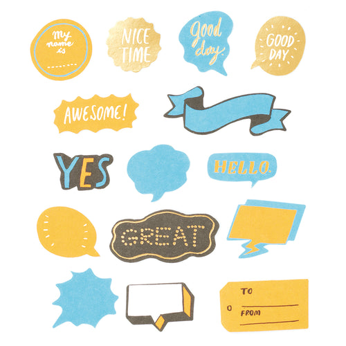 Flake Word Sticker - Blue (30 pcs)