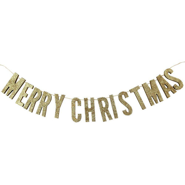 Christmas Metallic - Gold Glitter Wooden Bunting