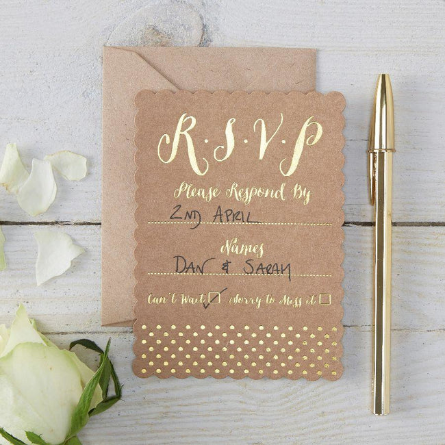 Gold Foiled RSVP Cards