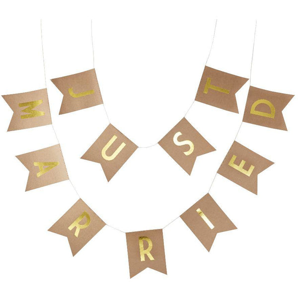 Just Married Gold Foiled Bunting