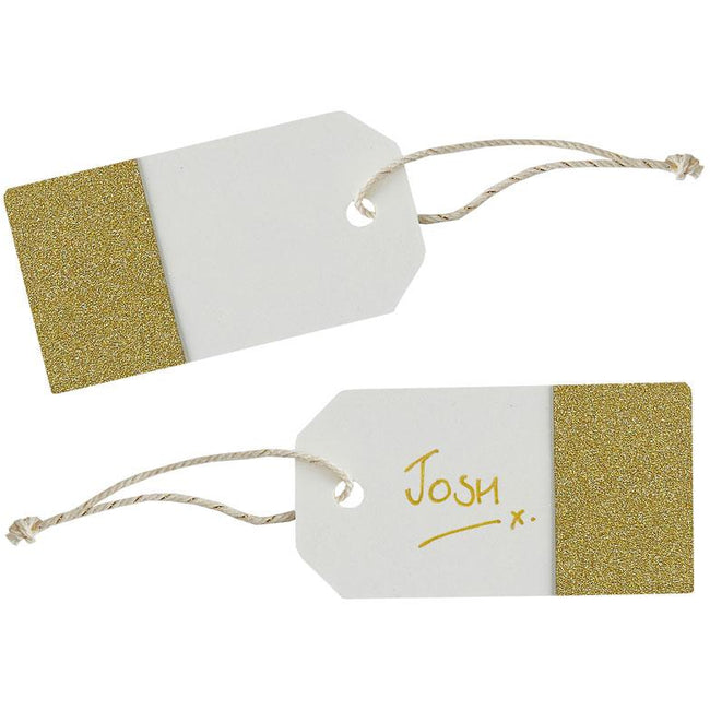 Ivory & Gold Glitter Luggage tags
