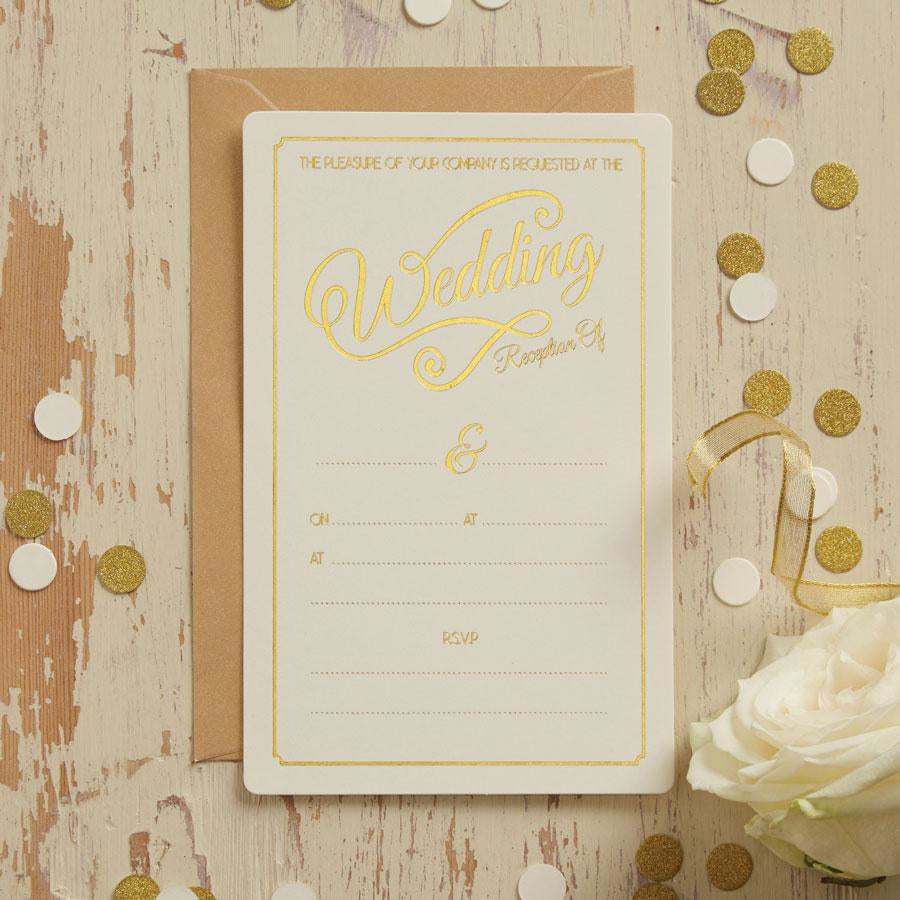 Ivory & Gold Wedding Evening Invitations – Monoyono