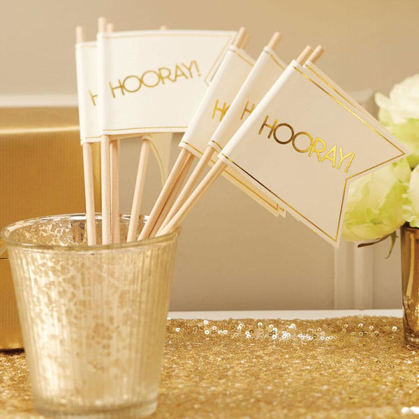 Ivory & Gold Wedding Flags