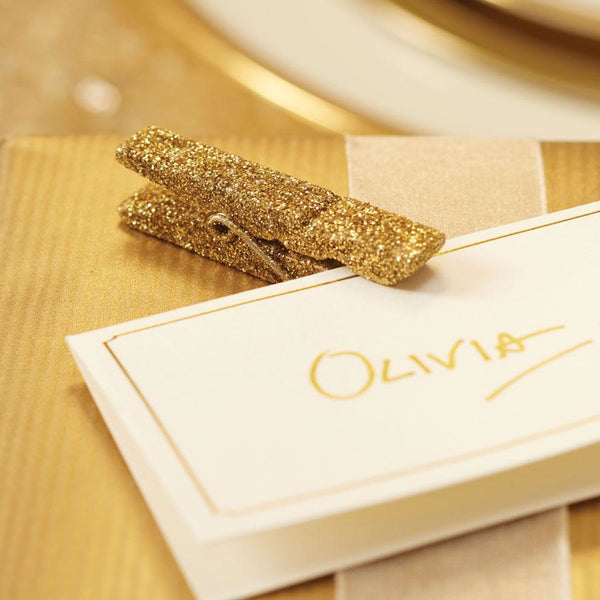 Gold Glitter Hanging Pegs