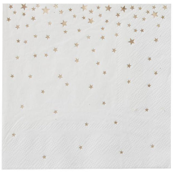 Metallic Star - Gold Foiled Cocktail Napkins