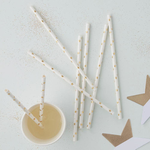 Metallic Star - Gold Foiled Paper Straws