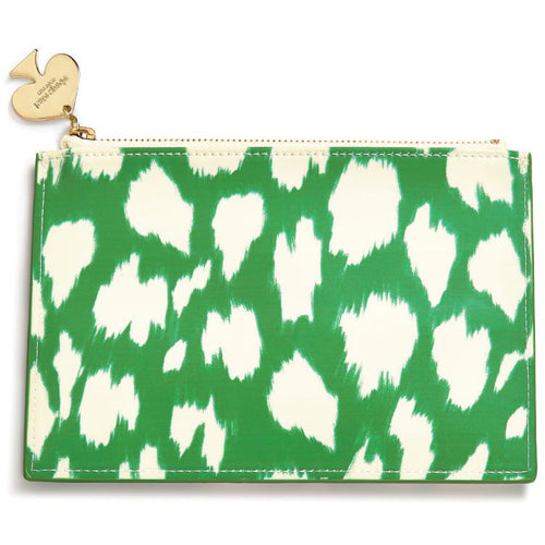 Kate Spade New York Pencil Pouch, Painterly Cheetah (Ikat) Green