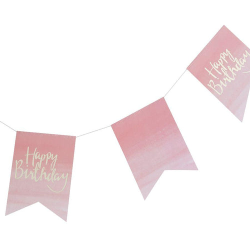 Gold Foiled & Ombre Happy Birthday Bunting