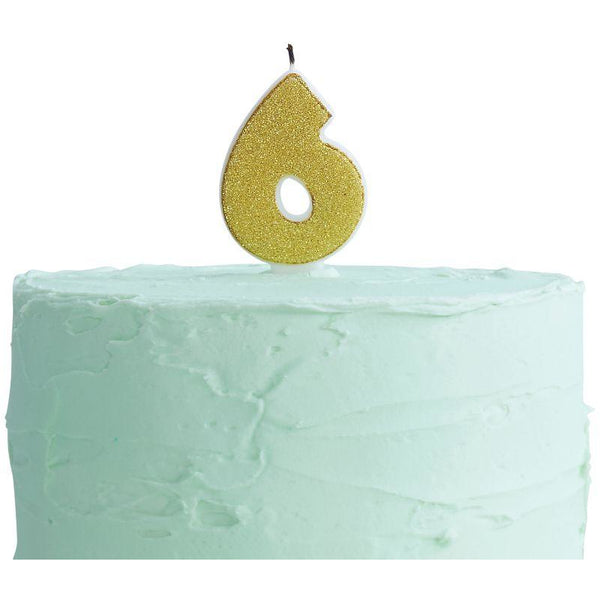 Gold Glitter 6 Number Candle