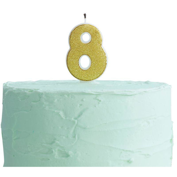 Gold Glitter 8 Number Candle