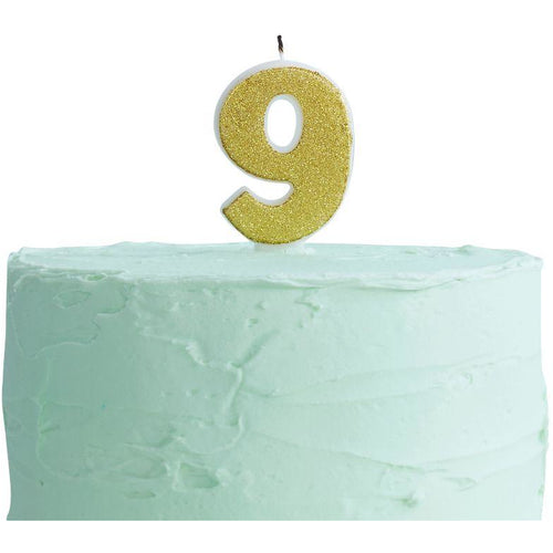 Gold Glitter 9 Number Candle
