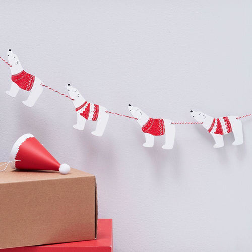 Santa & Friends - Wooden Polar Bear Bunting