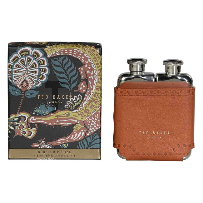 Ted Baker Double Hip Flask - Brogue Kiku (Brown)