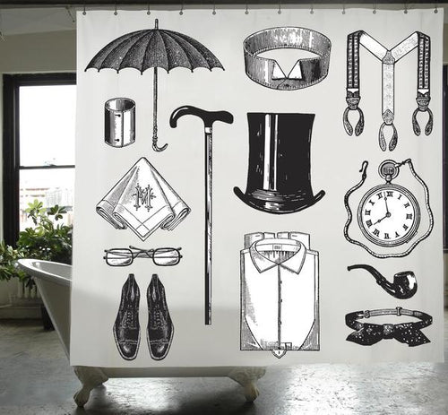 Gentleman PEVA Shower Curtain