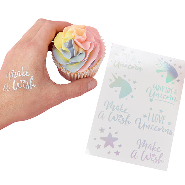 Iridescent Unicorn Temporary Tattoos