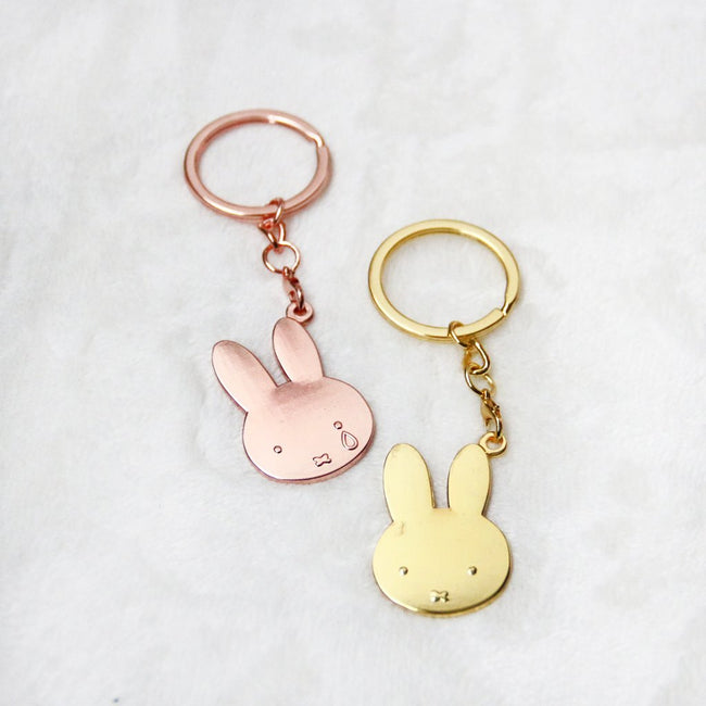 Miffy Rose Gold Badge Keychain