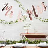 Mr and Mrs Rose Gold Backdrop
