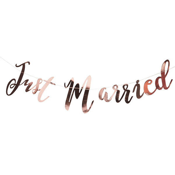 Just Married Rose Gold Backdrop