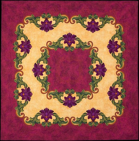Royal Amethyst by Rachelle Denneny 2009. Award winning appliqué quilt with free motion quilting, hand coloured with intense pencil on the back.