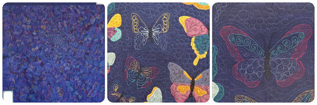Fancy Flutterby's Quilt 2006. Appliqué, Free motion Quilted and Free motion Embroidered quilt.
