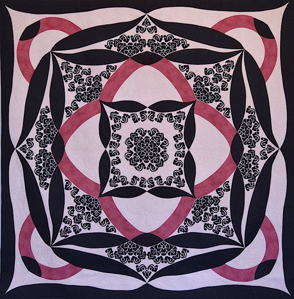 A Shimmering Lotus Quilt 2007. Made by Rachelle Denneny. Appliqué and Free Motion Quilted.