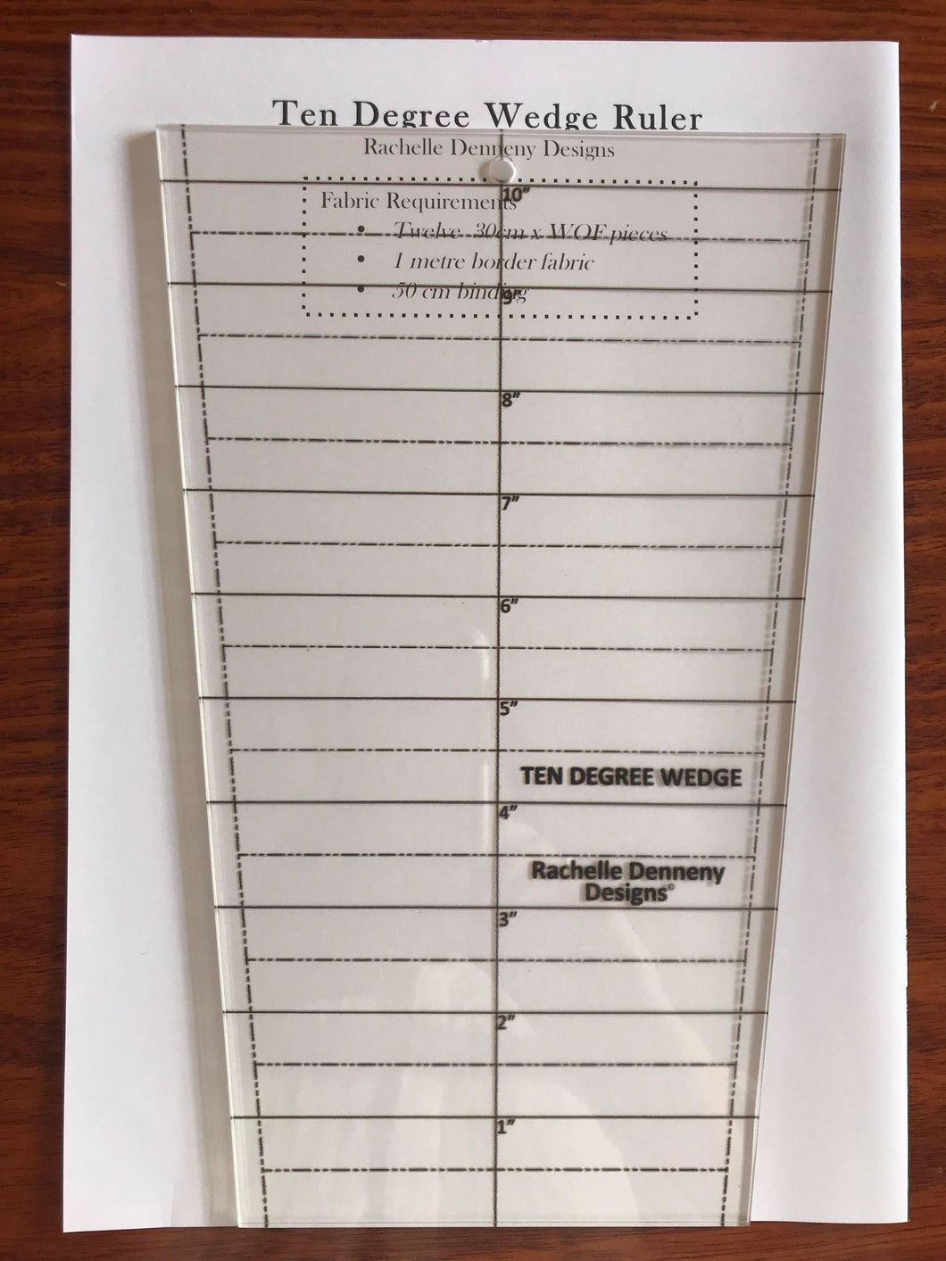 Ten Degree Wedge  Ruler by Rachelle Denneny