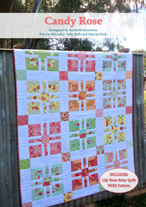 Candy Rose PDF Pattern - Plus Lily Rose baby quilt pattern